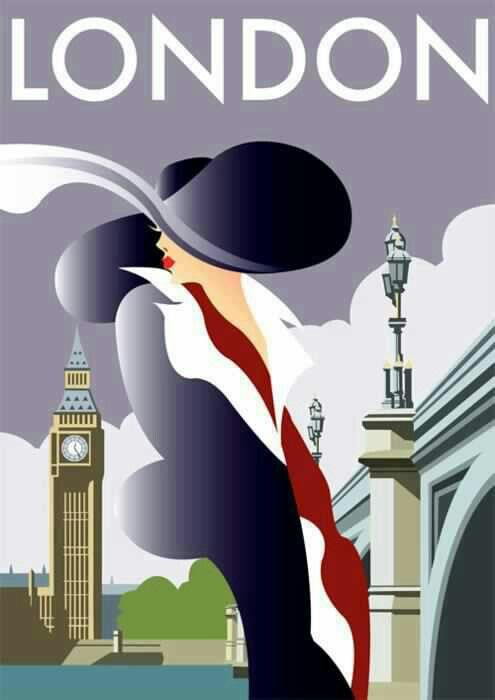 ♥Art Decó ~ London poster. http://zsazsabellagio.blogspot.com/search/label/fancy