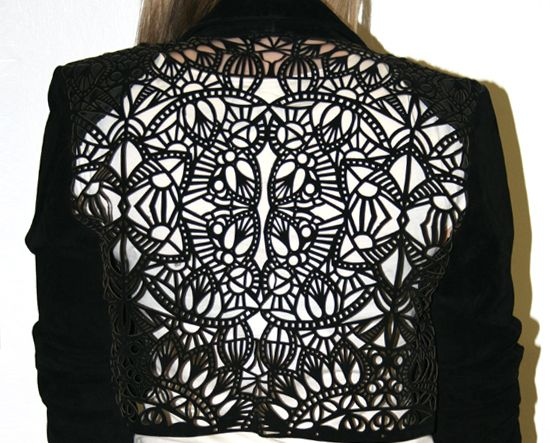 Laser cut jacket back with intricate patterns; textiles for fashion; fabric…