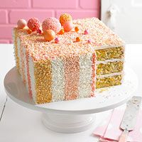 Sprinkle-Me-Happy Cake...recipe itself looks kinda iffy BUT I love the sprinkles on a cake idea...