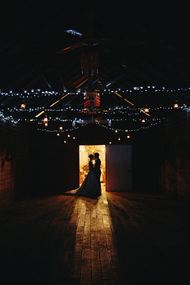 Barn with fairy lights. Real Wedding: Kayla and Jesse in Kenilworth | The Bride's Tree - Sunshine Coast Wedding