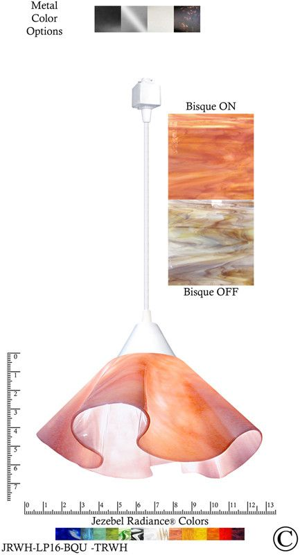 Jezebel Radiance® Lily Track Lighting Pendant Large. Hardware: White. Glass: Bisque