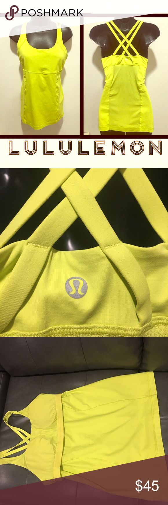 LULULEMON yellow tank with built in bra GUC The third image shows the tank inside out to show that there is very little pilling. No rips. No odors, stains. Comes from a pet and smoke free home. Will ship the same or next day. No trades. No paypal. No modeling. Can come with one free $10 or less item. lululemon athletica Tops Tank Tops