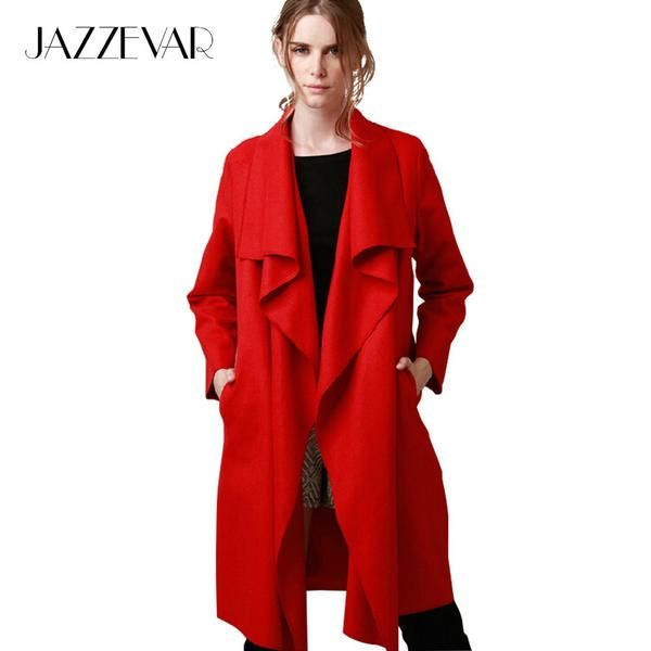 JAZZEVAR 2016 New autumn high fashion trend street women's wool blend Trench Coat Casual long Outerwear loose clothing for lady-Enso Store-Black-S-Enso Store