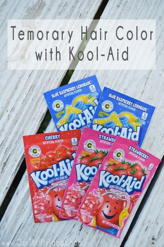 Kool Aid Hair dye the easiest way to make temporary hair color! It is a fun way to add a little color without it being permanent. Something to try on my girl since she wants blue hair and is only 6 😱