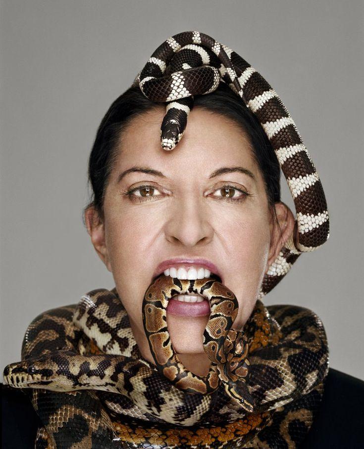 Marina Abramovic-snakes. Wild chick.