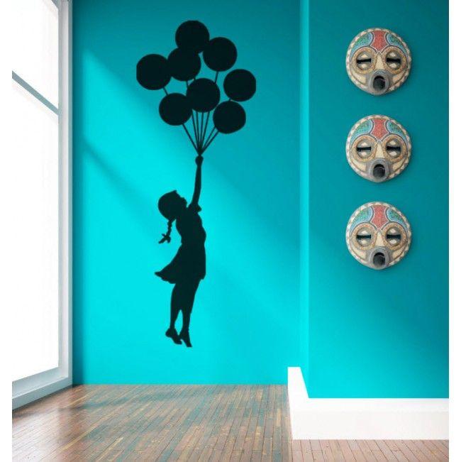 Girl with Balloons Premium Vinyl Wall Sticker