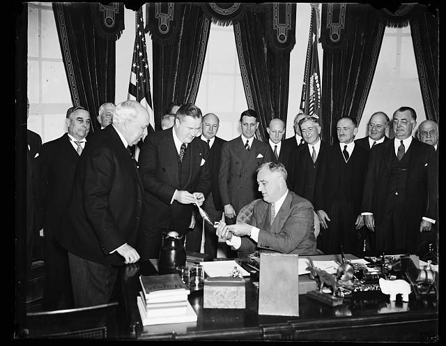Franklin D. Roosevelt Receives Pan American Award for his Good Neighbor Policy; President Franklin D. Roosevlet was presented an award by the Pan American Society for his Good Neighbor Policy.  The Roosevelt Administration embraced a non-interventionalist foreign policy with Latin America in the hopes to encourage reciprocal trade with these nations, and to prevent an alliance between Latin American nations and the Nazis.