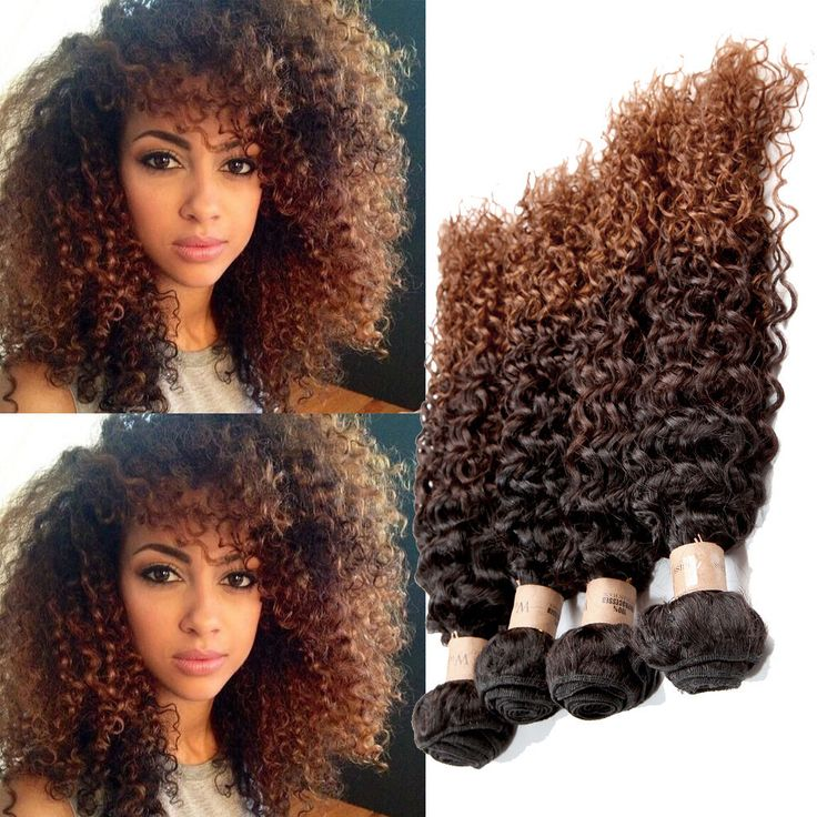 New Fashion Human Hair Extensions 1B/4/30# Afro Curly Hair  Weaving 50g/pc Weft #WIGISS #HairExtension