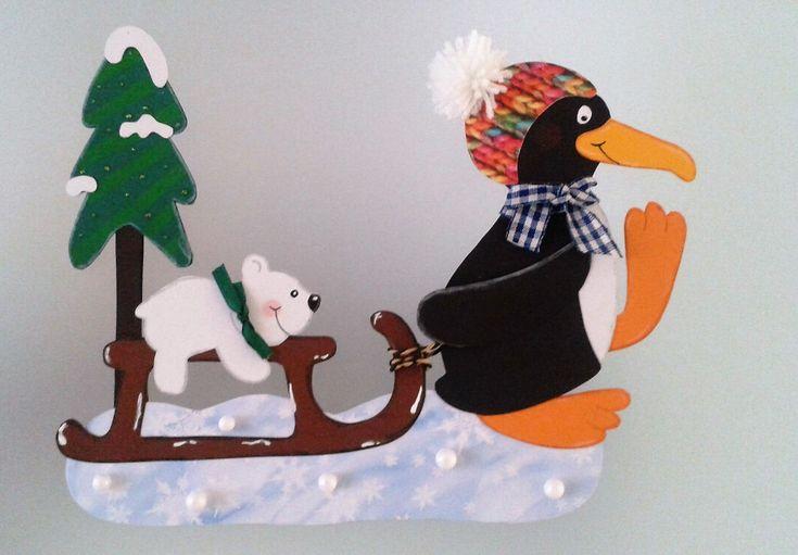 Fensterbild Ausflug im Schnee - Winter -Dekoration - Tonkarton!