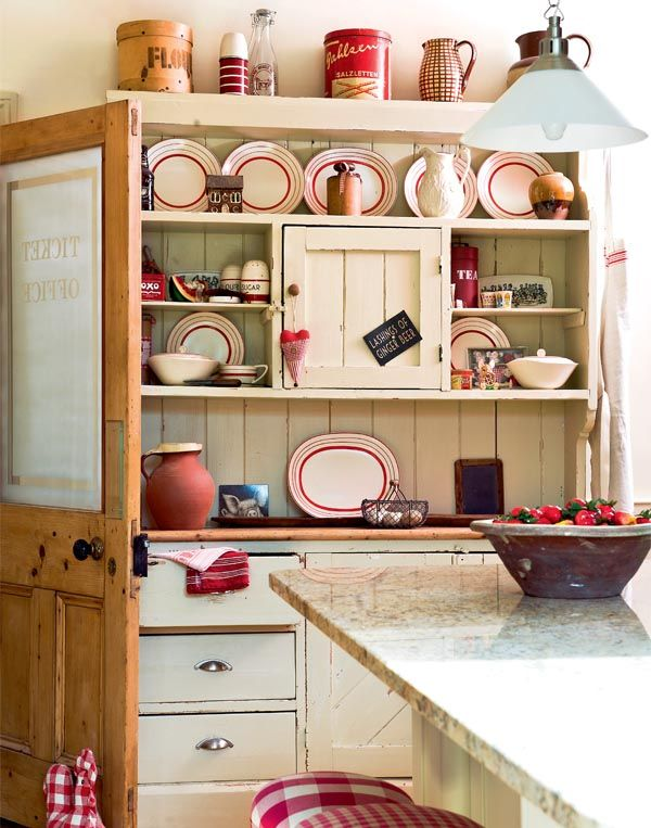 Country Kitchen Red Bud Il Part - 24: Vintage Red And White Country Farmhouse Kitchen Cupboard