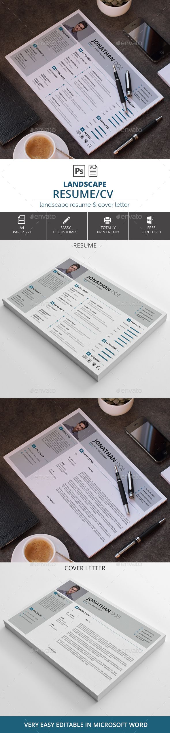 Landscape ResumeCV 134 best resume design and