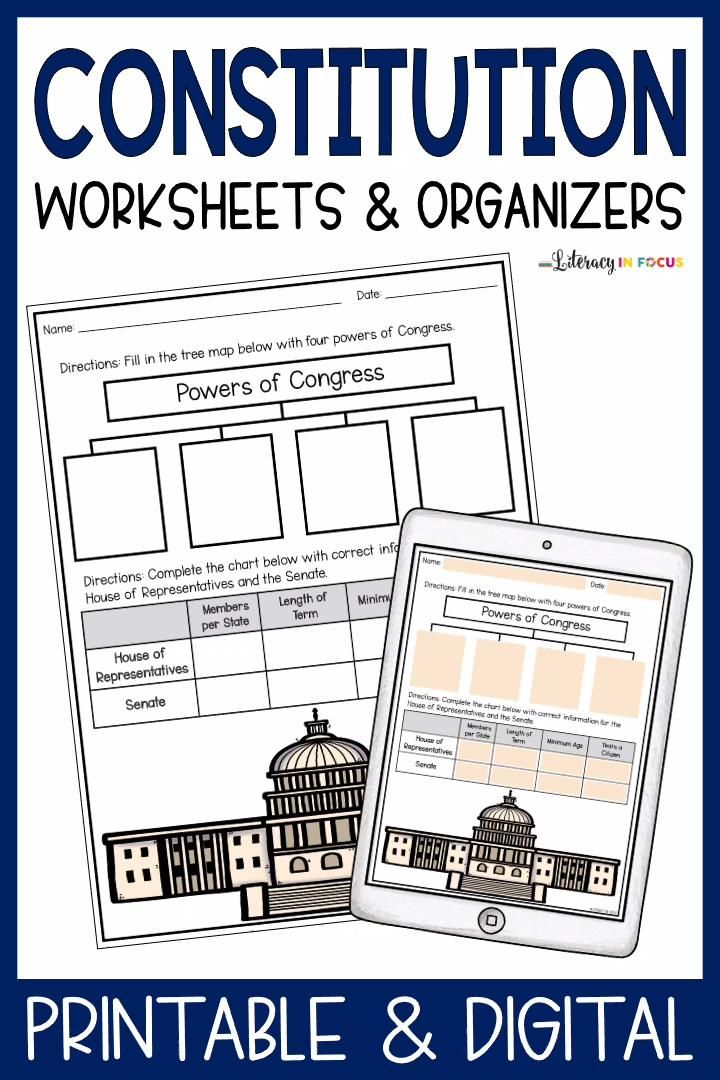 Us Constitution Worksheets Graphic Organizers Printable Digital Video Video In 2021 Constitution Activities Constitution Day Graphic Organizers Number chart worksheets us constitution