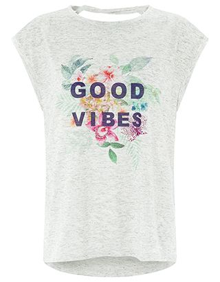 It's all about the good vibes with our slogan T-shirt from the Spirit of Accessorize collection. Printed with colour-pop flowers on soft grey marl jersey, th...