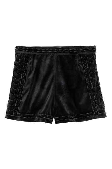 Shorts in velluto con perline