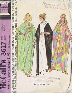 Vintage Caftan 70s Sewing Pattern McCall 3617 Sz 12 14 Bust 34 36 Hip 34 36 Cut   eBay