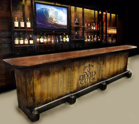 WILL SHIP IF PAYMENT IS VIA CASHIERS OR CERTIFIED BANK CHECK OR CASH PAYMENT IF PICKING UP LOCALLY. Made to order custom bar. Price will vary depending on total length. Any color finishes or themes can be used. Version with 8.5 foot body and 10 foot long top with single section pipe foot rail is the $2900. price (finished one shown in driveway). The longest version pictured is a 12 foot long variation with sectioned pipe option. All versions are standard bar heights around 42. This type of…