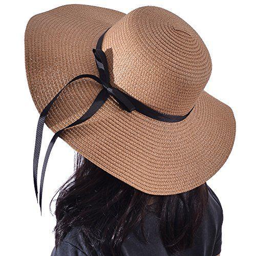 Woman hats 00.00 Yeeasy Womens Wide Brim Sun Hat Floppy Foldable Bowknot  Straw Summer Beach Hat 0a1597d11a2d