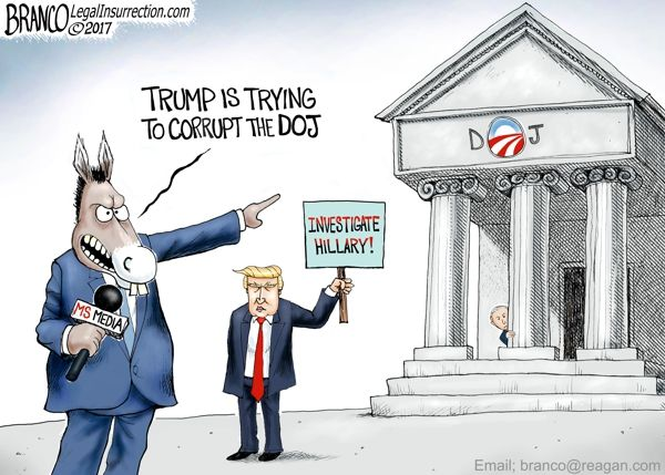 Cartoonist A.F. Branco mocks the media who demand investigation after investigation of Donald Trump but whine if the wheels of justice grind for their favorites like Hillary Clinton.