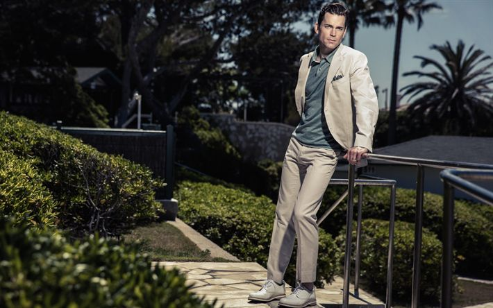 壁紙をダウンロードする マットBomer, アメリカ俳優, ベージュの男性スーツ, 男