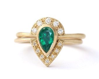De la boda conjunto anillo de diamante redondo Simple por artemer