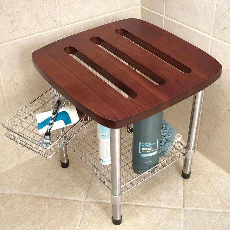 the better teak shower stool hammacher schlemmer