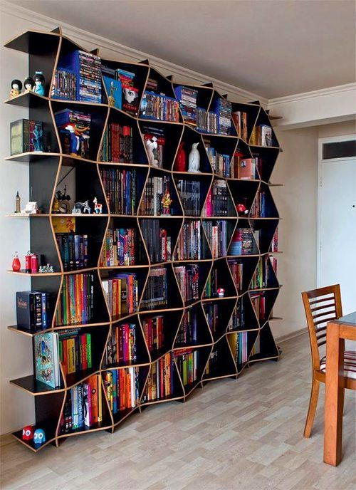 This bookshelf has a wavy and cool vibe going on that we kind of love.