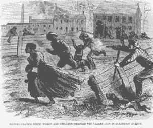 "The New York City Draft Riots of 1863~An excerpt from ""In the Shadow of Slavery:  African Americans in New York City, 1626-1863."" by Leslie M. Harris. Rioters tortured black men, women and children, and burned the Colored Orphans' Asylum to the ground. All 253 children were saved."