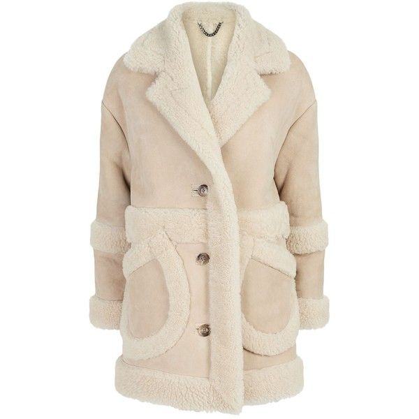 Whistles Gilder Shearling Coat (£746) ❤ liked on Polyvore featuring outerwear, coats, whistles coats, pink shearling coat, long sleeve coat, sheep fur coat and shearling coats