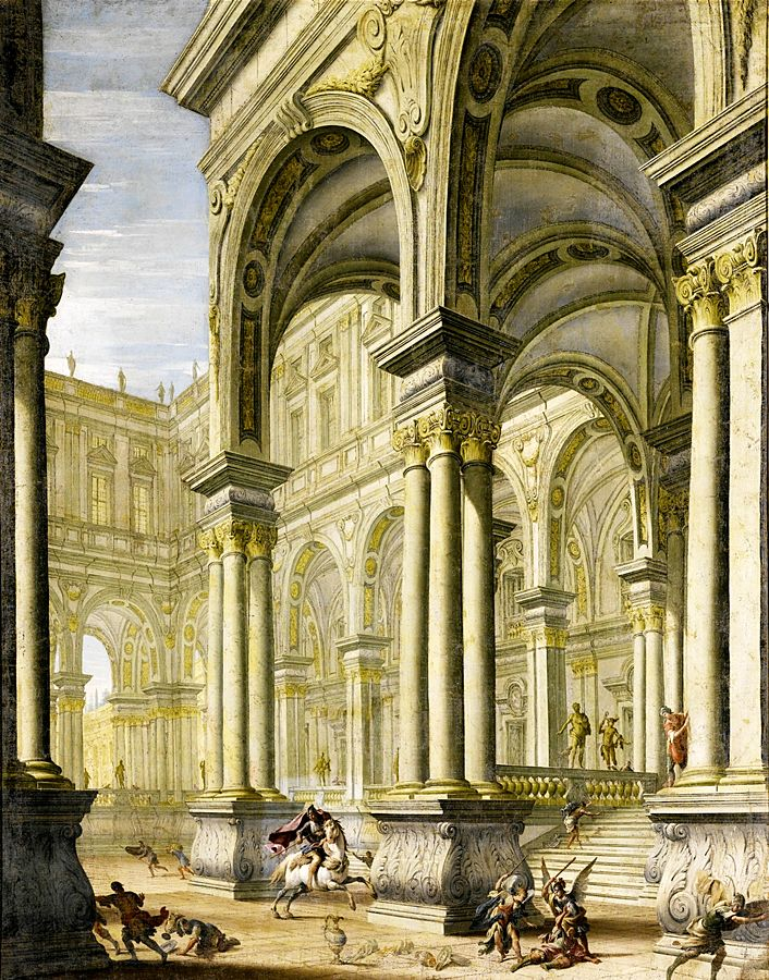 Giuseppe galli bibiena an imaginary view of a palace with a horseman and angels princess of liechtenstein