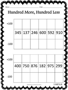 PLACE VALUE PACK - COMMON CORE 9 worksheets that cover place value: using tens models, hundreds models, and expanded form, +/- 10 and 100 from a given number, and a graphic organizer. Also includes a set of 16 task cards covers all of the above place value standards and skills. These would be a great math center!