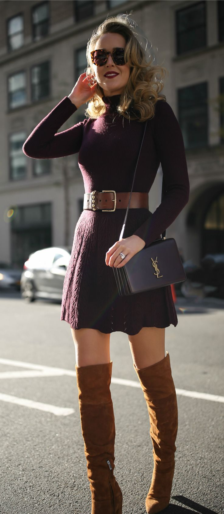 Burgundy turtleneck fit-and-flare sweater dress, floral jacquard longline coat, brown suede over-the-knee boots, brown leather waist belt and a burgundy leather cross body bag {See by Chloe, Smythe, YSL, what to wear shopping, holiday style, festive style, classic style, sweater dress, fashion blogger}