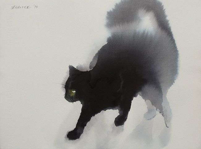 Using only black watercolours and ink, Serbian artist Endre Penovac leaves me absolutely gobsmacked with his wonderful, fluffy renditions of black cats. The loving texturing of his kitty fur is just amazing, and under his talented brush strokes these cats are revealed in all their glory.