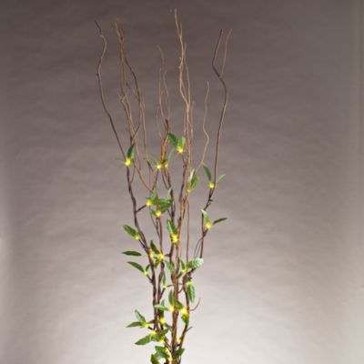 39-Inch Brown Natural Willow Branches with Green Leaves and Battery Operated LED Lights - BedBathandBeyond.com