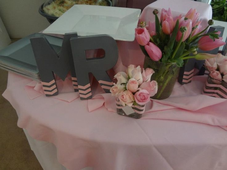 Mr and mrs pink and grey chevron bridal shower