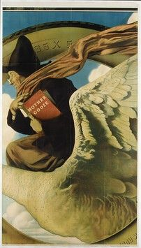 """Mother Goose (3rd panel) by Maxfield Parrish, 1919 for Fisk Tires. Lithograph, 85 x 47 1/4"""" 