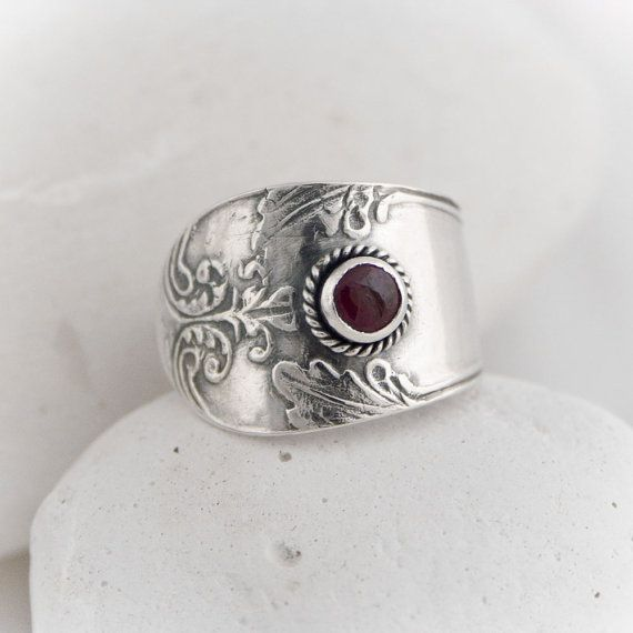 RUBY  recycled silver spoon ruby ring by SusannaSegerholm on Etsy, $79.00