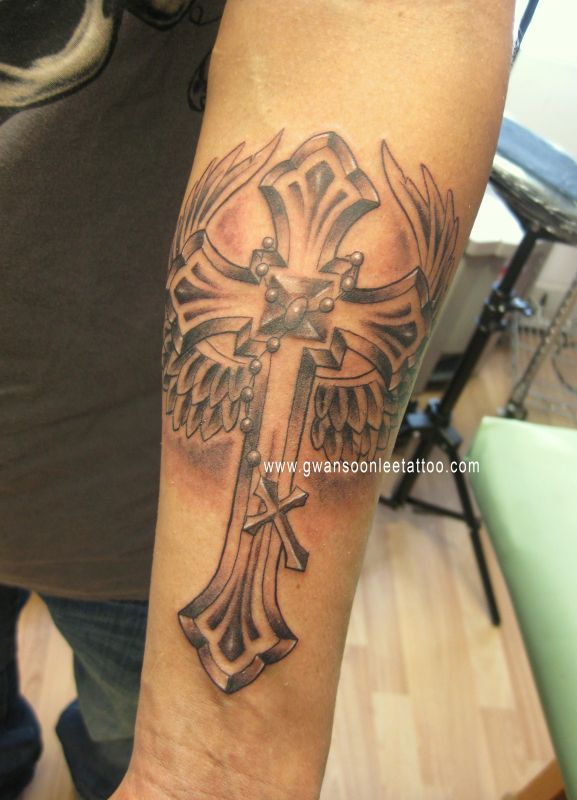 Cross Tattoo With Angel Wings On Arm
