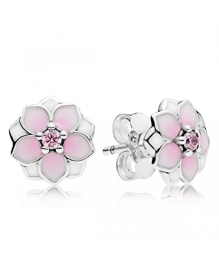 PANDORA Magnolia Bloom, Pale Cerise Enamel & Pink CZ Earrings Beautiful jewelry type, you can not miss the best chance.