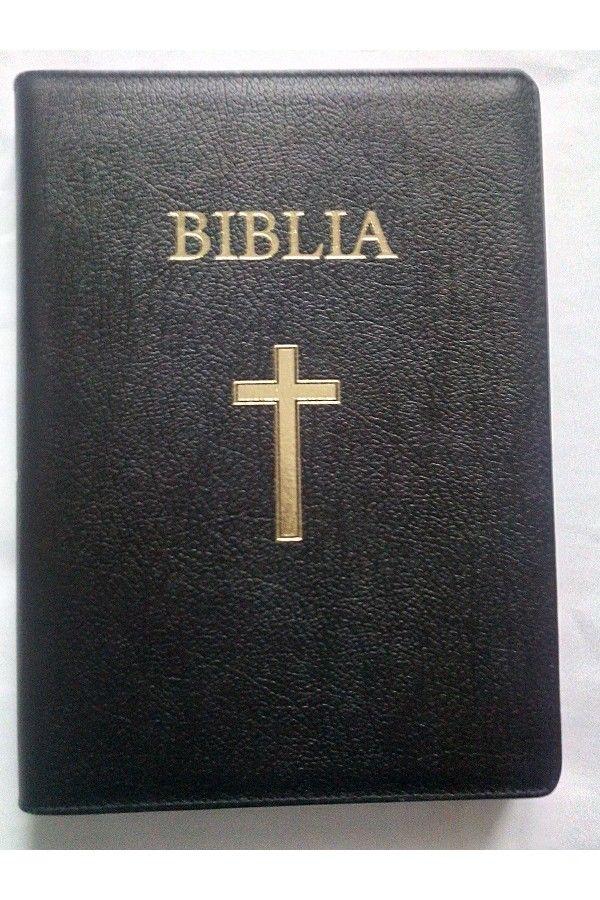 Biblia marime mare, din piele, cu index lateral, aurita, fermoar, cu cruce [073 PFI]