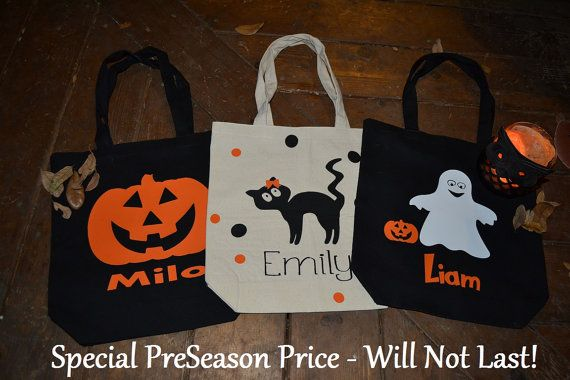 Trick or Treat Bags Canvas Halloween Bags by CaffeineAndWine