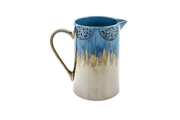 Casa Uno Stoneware Tunis Water Pitcher Jug Dinnerware Blue - New
