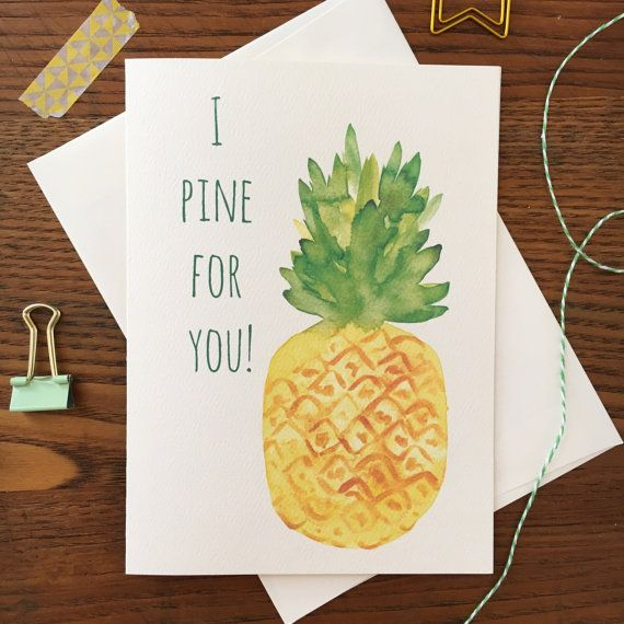 Pineapple Card. Pine for you. Valentines Day Card. Pineapple love card. Pineapple Pun Card. Same Sex Card. Valentine Pun Card. Love Card