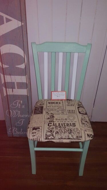 Up-cycled chair. Day of The Dead/Sugar Skull theme $50