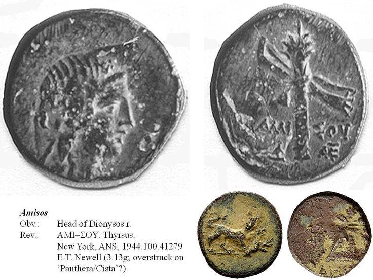 Greek overstrike. Pontus. Amisos. Head of Dionysus/Thyrsus on Panthera/Cista? Time of Mithradates Eupator.