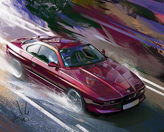 BMW 850i artwork by Aleksandr Sidelnikov #cardesign #car #design #cardrawing #artwork #carart #autoart #automotiveart #bmw #painting #drawing #artist #bmw #bmw850 #bmw850i