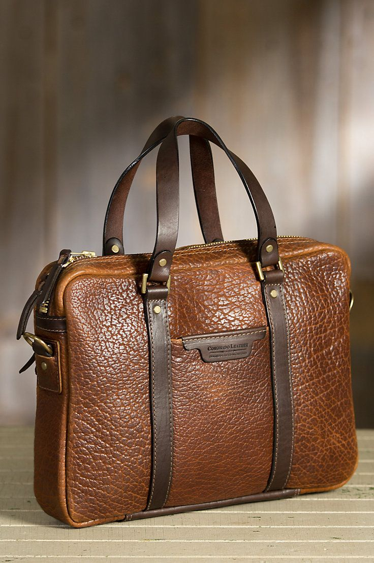 Our luxurious briefcase with hand polished leather and antiqued brass hardware carries your gear with elegance.