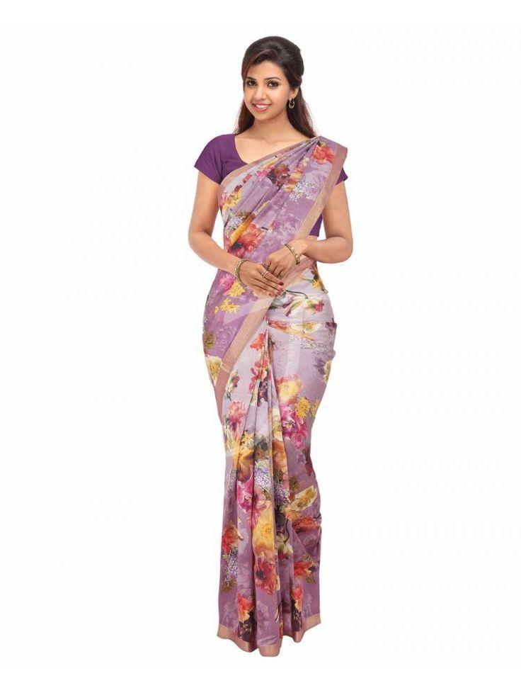 Chanderi Silk Light Purple Colour Saree with Golden Zari Borders