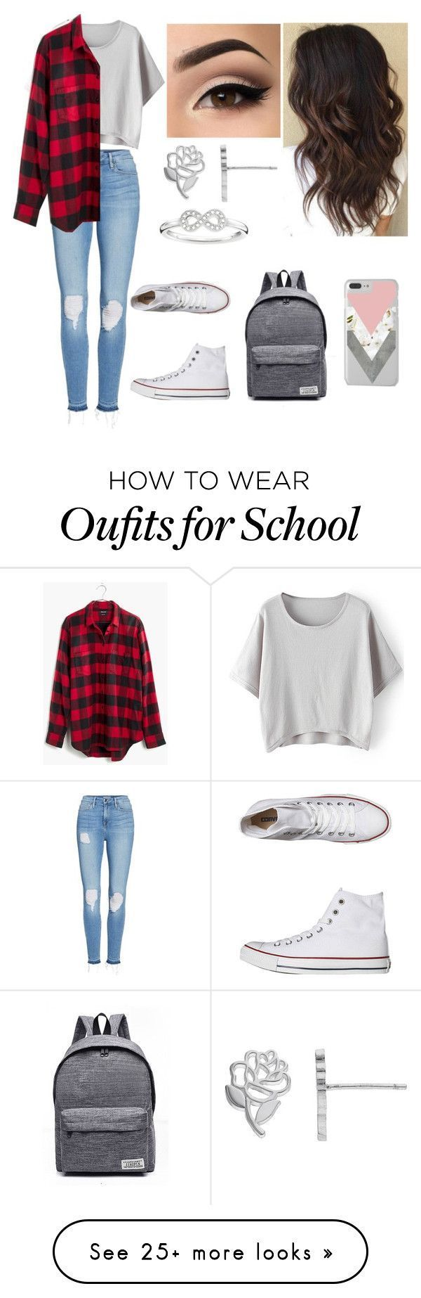 """""""Untitled #60"""" by pinkj3w3l on Polyvore featuring Good American, Converse, WithChic, Madewell, Disney and Thomas Sabo – – #SchoolOutfits"""