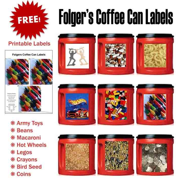 Free printable labels for Folgers coffee cans. Organize all the tiny things, or use them for Christmas cookie gifts, etc.