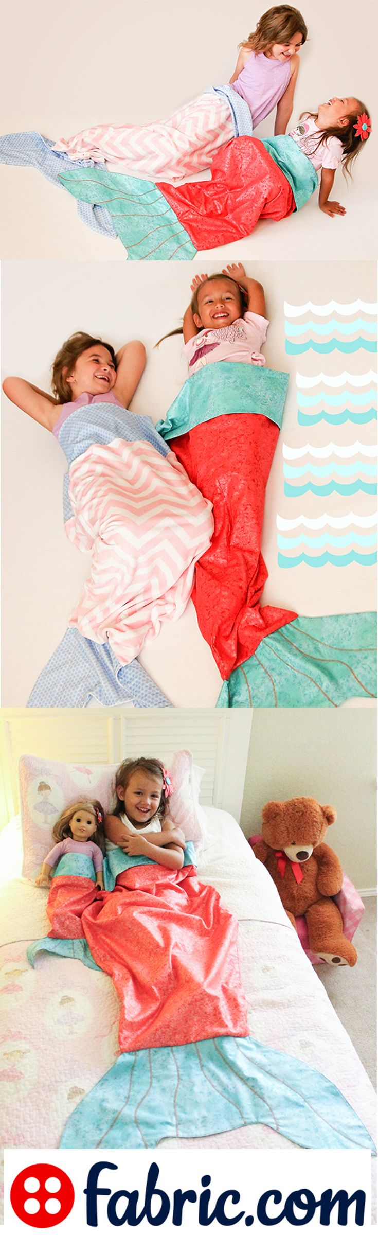 Free mermaid tail tutorial and pattern from fabric.com! Click to make it now.                                                                                                                                                                                 More